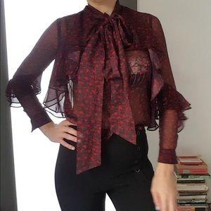 Nwot Genuine people ruffle print sheer blouse wow